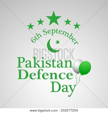 illustration of stars and balloons with Pakistan Defence Day 6th September text on the occasion of Pakistan defence day