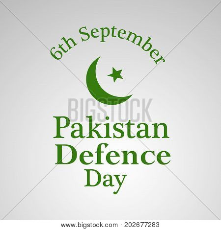 illustration of star and moon with Pakistan defence Day 6th September text on the occasion of Pakistan defence day