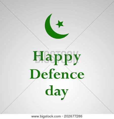 illustration of star and moon with Happy defence Day text on the occasion of Pakistan defence day