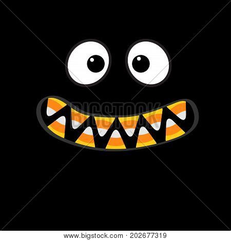 Scary monster face emotions. Vampire tooth fang. Big eyes mouth with candy corn teeth. Happy Halloween. Baby Greeting card. Flat design style . Black background. Vector illustration