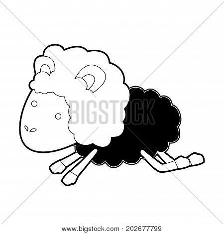sheep animal jumping black color section silhouette on white background vector illustration