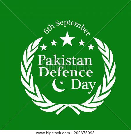 illustration of stars with Happy defence Day text on the occasion of Pakistan defence day