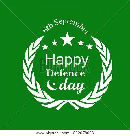 illustration of stars and Happy defence Day text on the occasion of Pakistan defence day