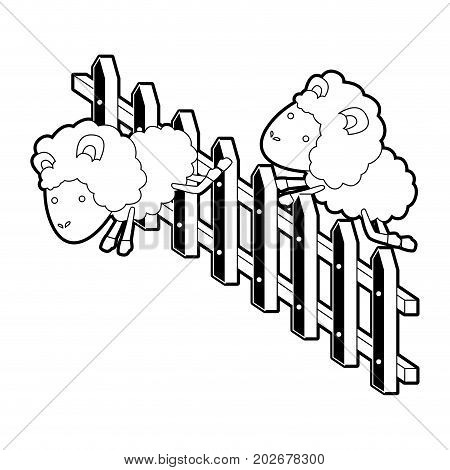 sheep animal couple jumping a wooden fence black color section silhouette on white background vector illustration