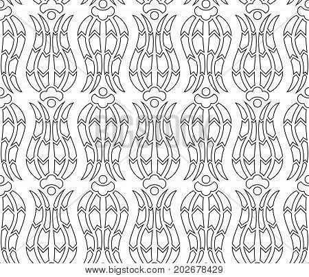 Floral tulip iznik pattern. Seamless line vector background in arabic style. Islamic turkish art