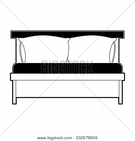 bed wooden with pillows black color section silhouette on white background vector illustration