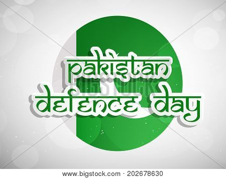 illustration of Pakistan defence Day text on Pakistan flag background on the occasion of Pakistan defence day
