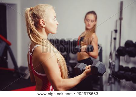 Woman exercising with a dumbbell in the gym, biceps exercising close-up, in the background a girl trains. copyspace