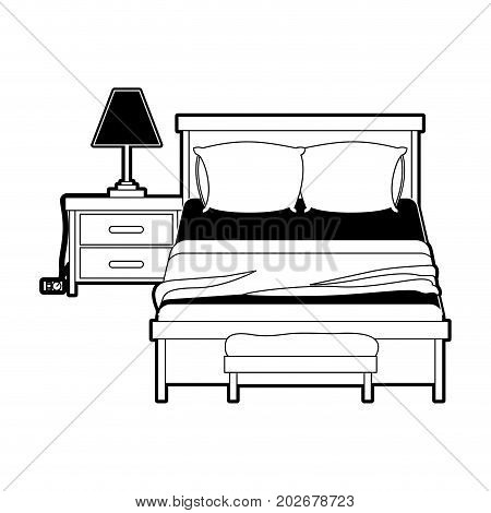 bedroom with lamp over nightstand black color section silhouette on white background vector illustration
