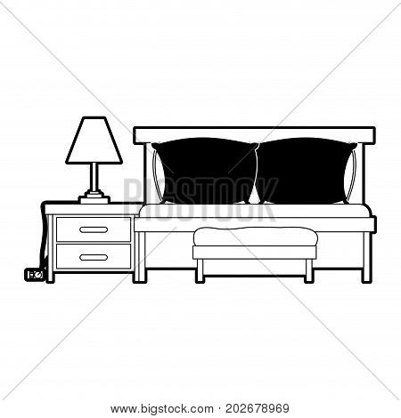 bedroom with sofa bed and lamp over nightstand black color section silhouette on white background vector illustration