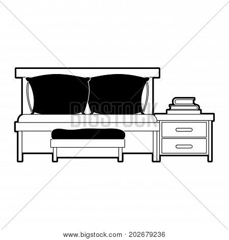 bedroom with sofa bed and books over nightstand black color section silhouette on white background vector illustration