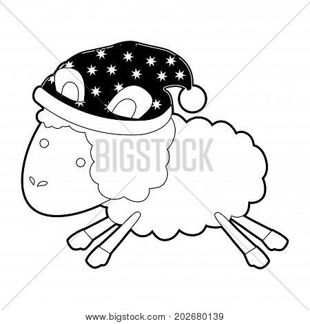 sheep animal with sleeping cap jumping black color section silhouette on white background vector illustration