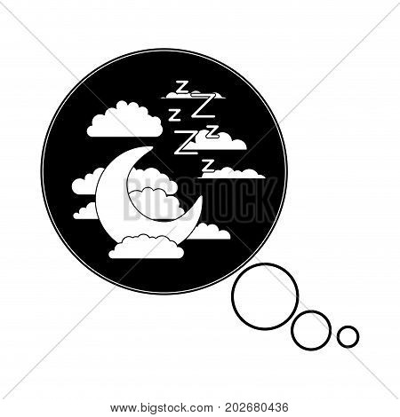 bubble call out with night landscape and snoring sign silhouette on white background vector illustration