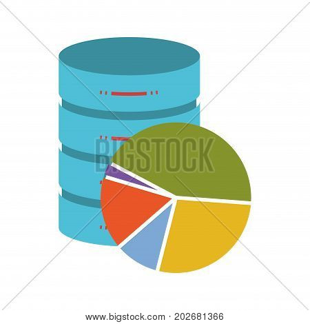 statistics data base colorful silhouette on white background vector illustration