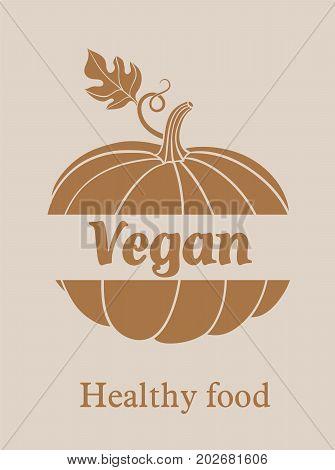 pumpkin. harvesting. natural food. vector illustration on grey background