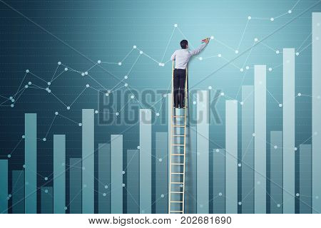 Businessman climb ladder to write dot graph with increasing graph, successful business