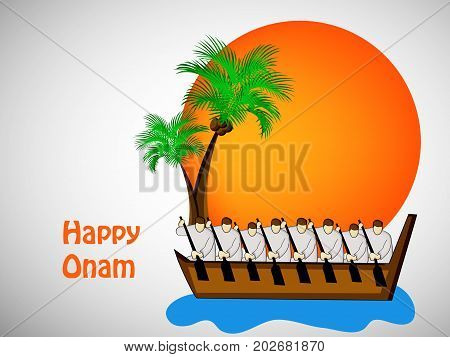 illustration of racing boat and coconut tree with happy onam text on the occasion of South Indian Festival Onam background