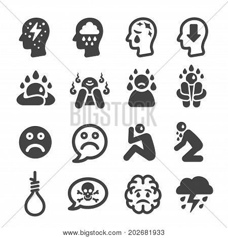 depression and different of mood icon set