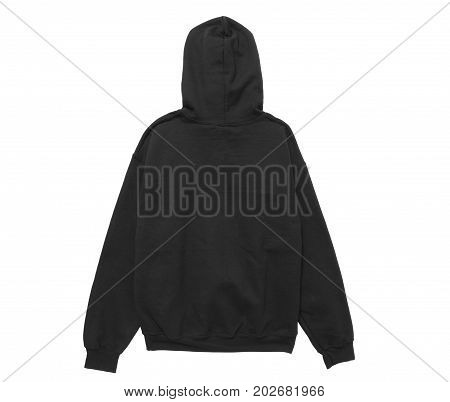 blank hoodie sweatshirt color black back view on white background