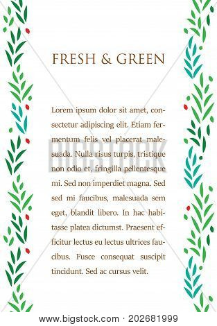 Green leaves text poster template, vector background