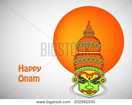 illustration of mask with happy onam text on the occasion of South Indian Festival Onam background