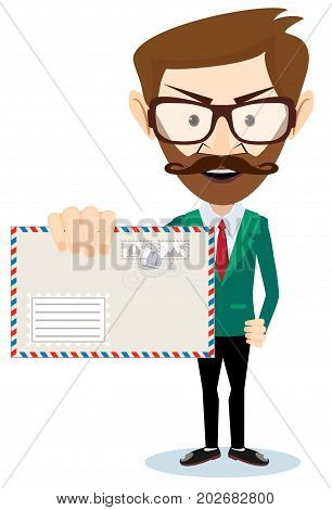 Handsome businessman in formal suit holding an envelope with a letter. Stock flat vector illustration.