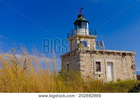 Light house of the Castle of Ayia Mavra at Lefkada island, Greece