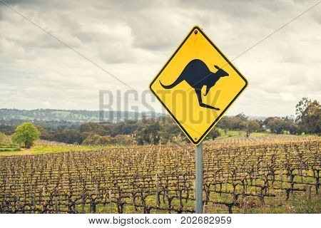 Kangaroo road sign on a side of a road in Adelaide Hills wine region South Australia
