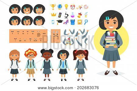 Vector cartoon style school girl character generator. Different emotions, mouth positions and hand gestures. School icons. Isolated on white background.