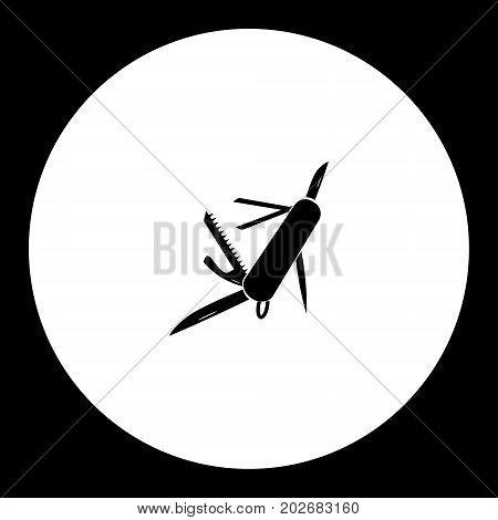 Multitool Knife Simple Silhouette Black Icon Eps10