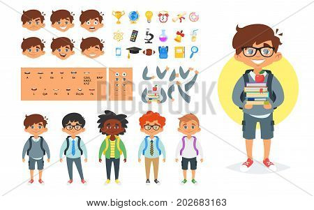 Vector cartoon style school boy character generator. Different emotions, mouth positions and hand gestures. School icons. Isolated on white background.
