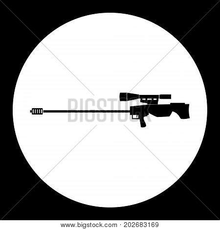 Sniper Rifle Simple Silhouette Black Icon Eps10