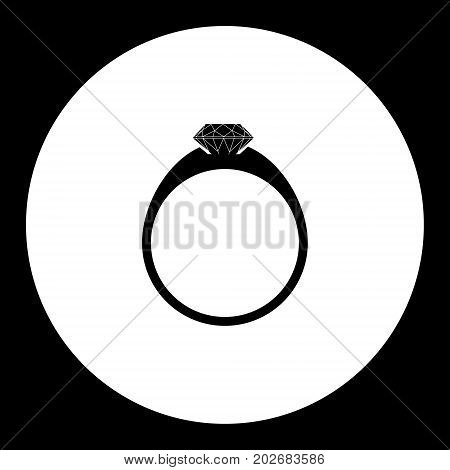 One Brilliant Ring Simple Silhouette Black Icon Eps10