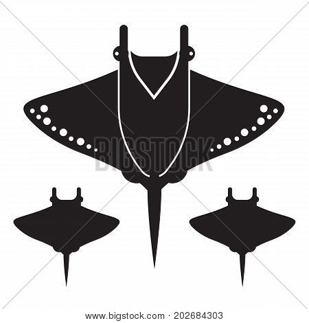 Silhouette of stingray isolated on white background. Manta ray vector icon in outline style. Devilfish top view logo or label template.