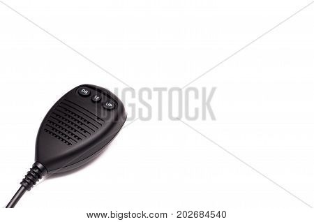 Walkie talkie cb Radio transmitter isolated on white background close up.