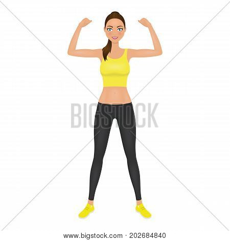 Pretty young fit woman showing her biceps. Girl in leggings and crop top. Isolated vector character