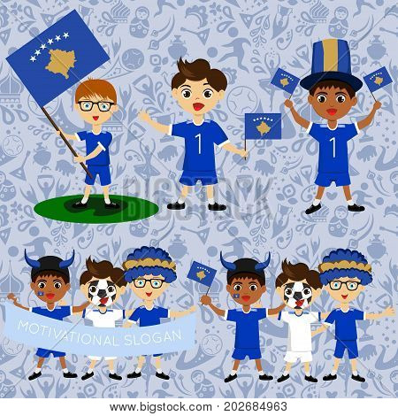 Set of boys with national flags of Republic of Kosovo. Blanks for the day of the flag nation day and other public holidays. The guys in sports form with the attributes of the football team