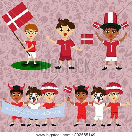 Set of boys with national flags of Denmark. Blanks for the day of the flag independence nation day and other public holidays. The guys in sports form with the attributes of the football team