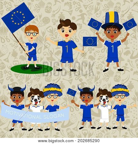 Set of boys with national flags of European Union. Blanks for the day of the flag independence nation day and other public holidays. The guys in sports form with the attributes of the football team