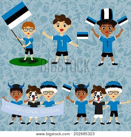 Set of boys with national flags of Estonia. Blanks for the day of the flag independence nation day and other public holidays. The guys in sports form with the attributes of the football team