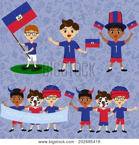 Set of boys with national flags of Haiti. Blanks for the day of the flag independence nation day and other public holidays. The guys in sports form with the attributes of the football team