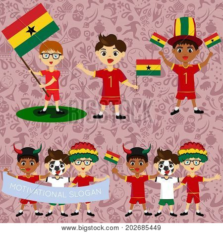 Set of boys with national flags of Ghana. Blanks for the day of the flag independence nation day and other public holidays. The guys in sports form with the attributes of the football team