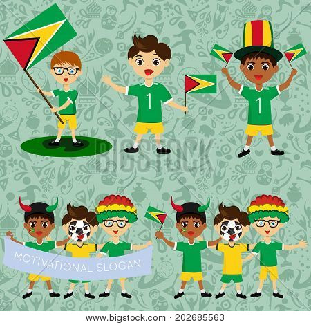 Set of boys with national flags of Guyana. Blanks for the day of the flag independence nation day and other public holidays. The guys in sports form with the attributes of the football team