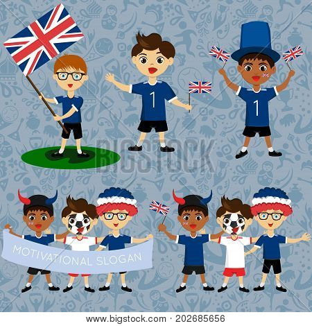 Set of boys with national flags of United Kingdom. Blanks for the day of the flag independence nation day and other public holidays. The guys in sports form with the attributes of the football team