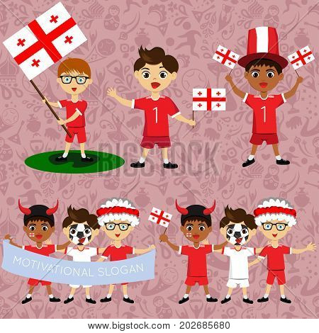 Set of boys with national flags of Georgia. Blanks for the day of the flag independence nation day and other public holidays. The guys in sports form with the attributes of the football team