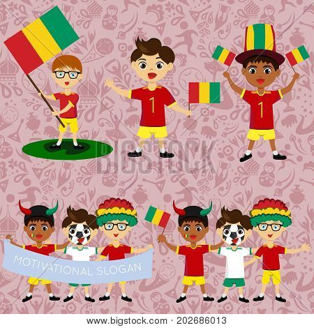 Set of boys with national flags of Guinea. Blanks for the day of the flag independence nation day and other public holidays. The guys in sports form with the attributes of the football team