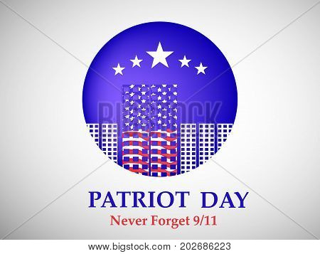 illustration of button in buildings and stars background with Patriot Day never forget 9/11 text on the occasion of Patriot Day