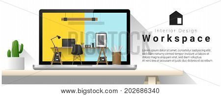 Interior design of modern office workplace , vector , illustration