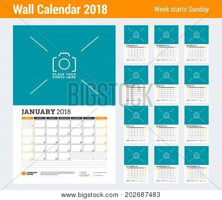 Vector Calendar Planner Template For 2018 Year. Set Of 12 Months. Vector Design Print Template With