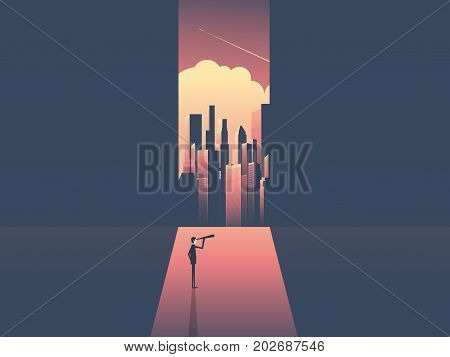 Businessman with telescope looking at skyline of modern corporate world. Business success, opportunity, challenge and visionary vector concept. eps10 vector illustration.